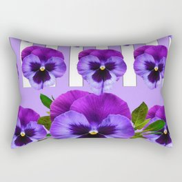 MODERN LILAC & PURPLE PANSY FLOWERS ART Rectangular Pillow