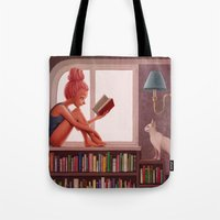 bookworm Tote Bags featuring Bookworm by Joifish