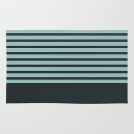 Navy stripes on turquoise Rug