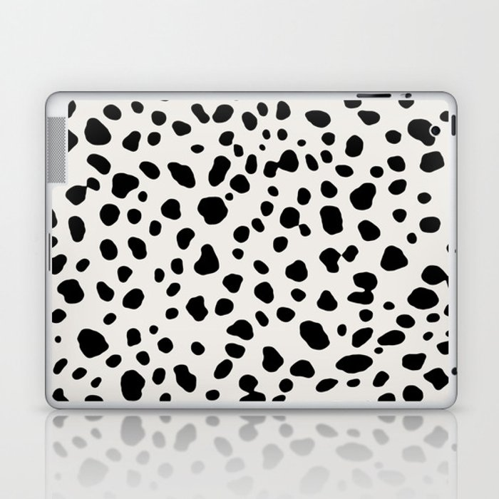 Polka Dots Dalmatian Spots Black And White Laptop & iPad Skin