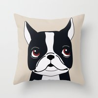 frenchie Throw Pillows featuring Frenchie by Darish