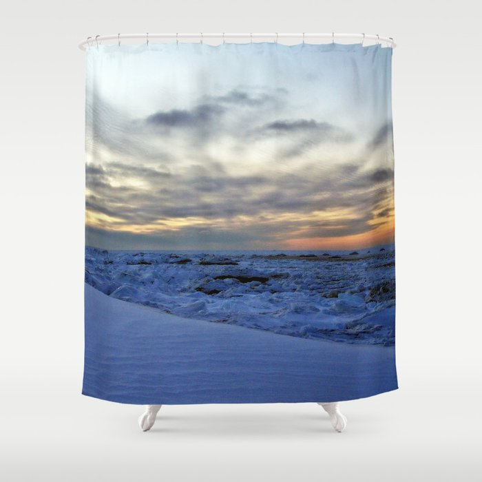 Icy Sea at Sunset Shower Curtain