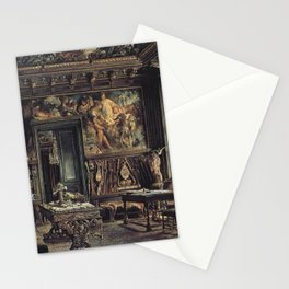 The Library In The Palais Dumba 1877 by Rudolf von Alt | Reproduction Stationery Cards