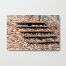 Fall Leaf Covered Wooden Steps Metal Print