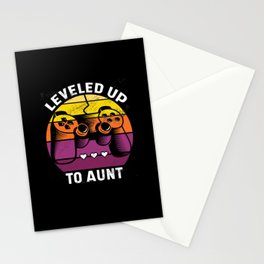 Leveled up to Aunt Best Gift Stationery Cards