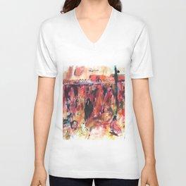 Watercolor of Marrakech market Unisex V-Neck