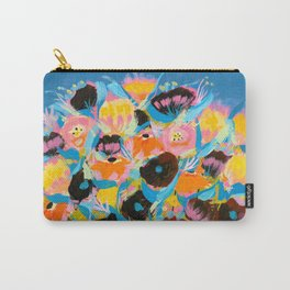 Parrot and bouquet on blue Carry-All Pouch