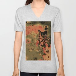 orange green and brown painting abstract background Unisex V-Neck