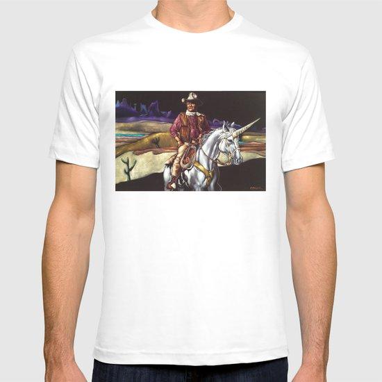 Black Velvet John Wayne Riding a Unicorn T-shirt