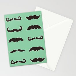Vintage brown mustaches on seafoam green background Stationery Cards