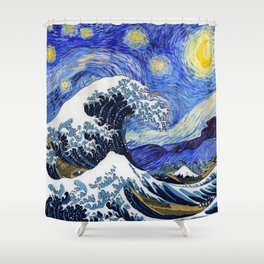"Hokusai,""The Great Wave off Kanagawa"" + van Gogh,""Starry night"" Shower Curtain"