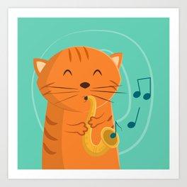 Jazz Cat Art Print