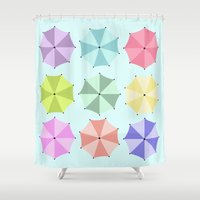 umbrella Shower Curtains featuring Umbrella by Melis Kalpakçıoğlu