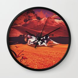 paradise, she explained is wherever she may gaze upon the grazing birds  Wall Clock