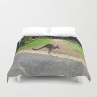 kangaroo Duvet Covers featuring Flying Kangaroo by Chris' Landscape Images & Designs