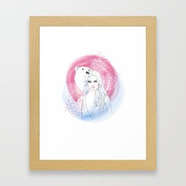 Girl and Polar Bear Framed Art Print