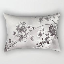 Black and White Floral Photography, Grey Neutral Nature Art, Light Gray Botanical Flower Photo Rectangular Pillow