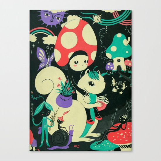 Mushroom and Squirl Canvas Print