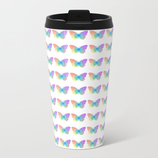 Pastel rainbow butterfly Metal Travel Mug