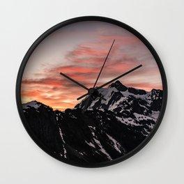 Pink Sky - Cascade Mountains - Nature Photography Wall Clock