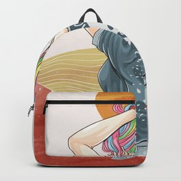 Drawn girl unicorn with rocker t-shirt artwork, abstract contemporary aesthetic background landscape Backpack