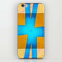 Beautiful abstract graphic tied blue ribbon and yellow square box design iPhone Skin