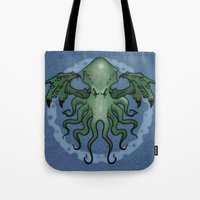 cthulhu Tote Bags featuring Cthulhu by N.Kachaktano