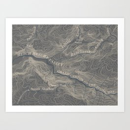 Yosemite Topo Map Art Print