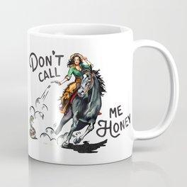 """Don't Call Me Honey"" Cowgirl On Horseback Shooting a Rattlesnake Coffee Mug"