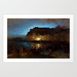 Fireworks in Naples by Oswald Achenbach Art Print