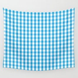 Oktoberfest Bavarian Blue and White Large Gingham Check Wall Tapestry