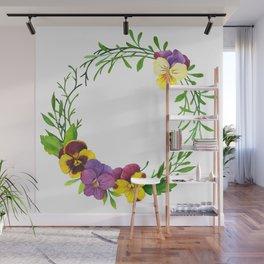 Watercolor pansies wreath Wall Mural