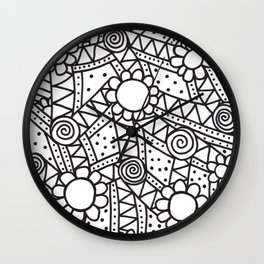 Doodle Art Flowers - Pathways that Connect 1 Wall Clock
