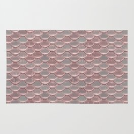 Shiny Shimmering Pink Mermaid Scale Pattern Rug