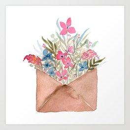 Bouquet in Envelope Art Print