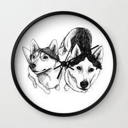 A Pair of Siberian Huskies Wall Clock