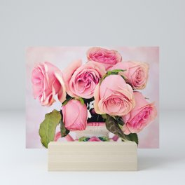 Pink Roses in a Vase Mini Art Print