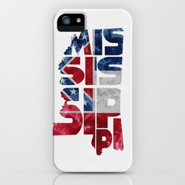 Mississippi Typographic Flag Map Art iPhone Case