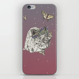 The Boar and the Butterflies at Dusk iPhone Skin