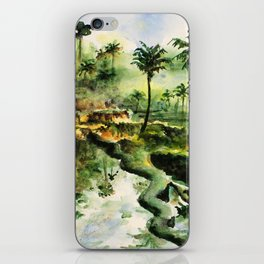 Sunny rice fields of Bali, Indonesia - Watercolor art iPhone Skin