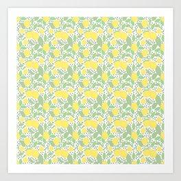 Lemons with leaves Art Print
