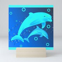 Glowing Dolphins Mini Art Print