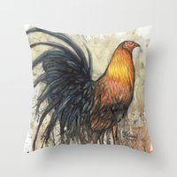 rooster Throw Pillows featuring Rooster by Villarreal