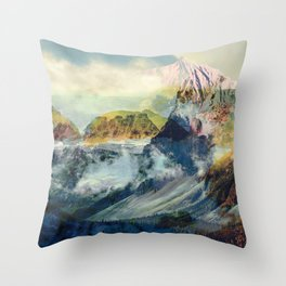 Mountain landscape digital art Throw Pillow