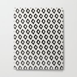 Modern Diamond Pattern 2 Black on Light Gray Metal Print