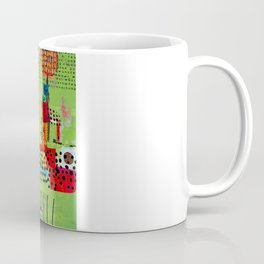 Red and Green Abstract Art Collage Coffee Mug