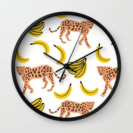 Leopards and bananas Wall Clock