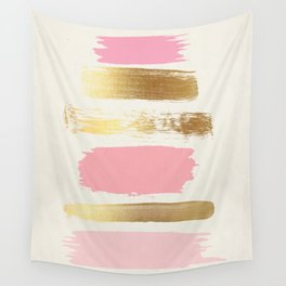 Brush Strokes (Rose/Gold) Wall Tapestry