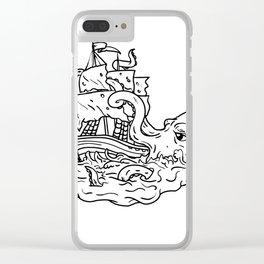 Kraken Attacking Sailing Ship Doodle Art Clear iPhone Case