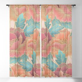 Pink Peonies Pattern with Gold Waves Sheer Curtain